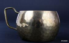 A267   Bauhaus Art Deco Tea Glass Holder Brass Martele Marabu Signed  6 avail.