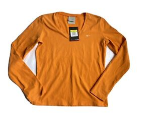 NEW Nike Sz S Women's V-Neck Top Long Sleeve Orange Cotton Spandex MSRP$38