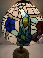 Gorgeous Vintage Handcrafted Tiffany Style Stain Glass Lamp - Peacock Design