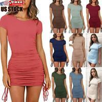 US Women's Short Sleeve Bodycon Mini Dress Ladies Summer Casual Drawstring Dress