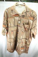 California Large Polyester Tan Orange Vintage Short Sleeve Button Men's Shirt