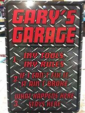 Metal Personalized Diamond Plate Image Signs, Man Cave Garage Bar Shop Pool