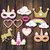 Unicorn Themed Photo Booth Props Set Girls Birthday Party Baby Shower Decor xkj