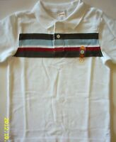 NWT Gymboree Baseball Champ Pique Polo Stripe White Shirt 7