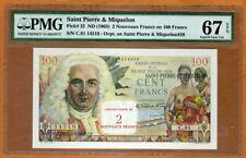 Saint Pierre and Miquelon 2 Nouveaux Francs Nd (1963) P-32 Pmg-67 Superb Gem Unc