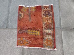 Vintage Fragment Traditional Hand Made Oriental Wool Red Small Rug 69x60cm