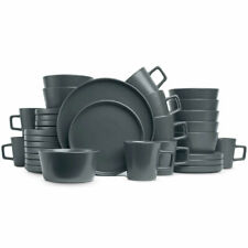 Stone Lain Modern Ledge 32-Piece Stoneware Dinnerware Set, Service for 8 (Gray M