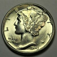 1943 D Mercury Dime Brilliant Uncirculated 90% Silver Gem BU FSB Fully Split