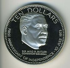 Bahamas 1974 - 10 Dollars Silver Coin - Independence 1st. Ann., Sir M. B. Butler