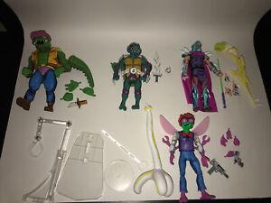 NECA TMNT Turtles In Time Shredder, Slash, Leatherhead, Baxter Stockman Loose