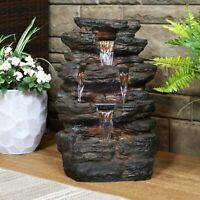 Sunnydaze Tumbling Falls Rock Style Water Fountain with LED Lights - 21-Inch