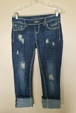 Almost Famous Distressed/Splatter Cuffed Skinny Jeans Size 1