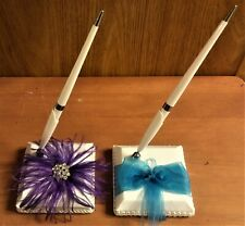 "NIB Studio His & Hers Wedding Guest Pen, Purple OR Turquoise on White, 7.75""T"