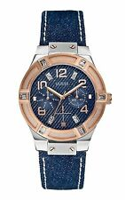 GUESS Jet Setter Women's 39mm Blue Nylon Stainless Steel Case Date Watch W0289L1
