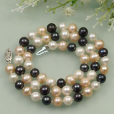 Natural 7-8mm Black White Pink Cultured Fresh freshwater Pearl Necklace 18''