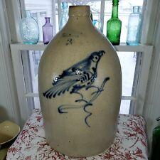 RARE Antique Salt Glazed Stoneware FT EDWARD POTTERY CO BRILLIANT BLUE BIRD Jug