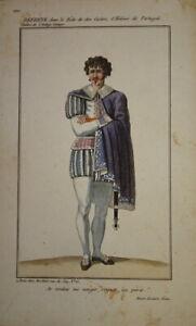 GRAVURE COULEUR PORTRAIT COSTUME THEATRE HOMME PORTUGAL DON CARLOS COMEDIE1820