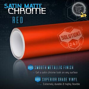 "36"" x 60"" In Red Satin Matte Chrome Metallic Vinyl Wrap Sticker Bubble Free Air"