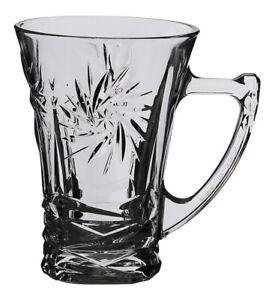 Silica Etched Crystal Set of 6 Tea Glasses & Handles Glass Tea Mugs Gift Box