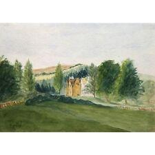 Original Unframed Antique Victorian Manor House Landscape Painting 17 x 12 cm