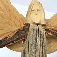 "David Alvarez Angel Folk Art Driftwood Carved Wood Sculpture Wall Hanging 10"""