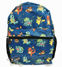 """16"""" Pokemon Large Blue All Over Print School Backpack for Kids Pikachu Squirtle"""