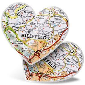 2 x Heart Stickers 15 cm - Bielefeld City Germany German Travel Map  #44279