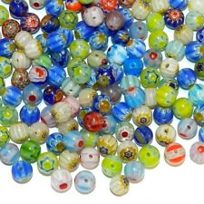 G3453 Assorted Color Flower Millefiori 6mm Round Glass Bead Mix 50/pkg