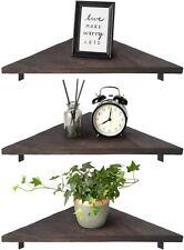 Mkono Corner Wall Shelf 3 Set Wood Floating Shelves with Brackets