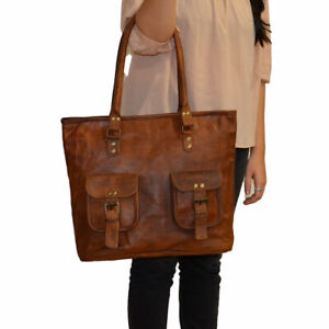 """17"""" Women Vintage Waxed Shopping Leather Tote Shoulder Bag Handmade Purse"""