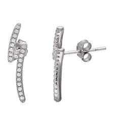 Sterling Silver Rhodium Plated Lightning Bolt CZ Stones Stud Earrings