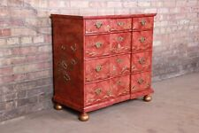 Baker Furniture Hollywood Regency Chinoiserie Red Lacquered Chest of Drawers