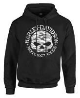 Harley-Davidson Men's Camo Willie G Skull Fleece Pullover Hoodie - Solid Black