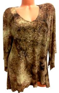 Dressbarn brown animal floral print shimmer spandex stretch 3/4 sleeve top 2X