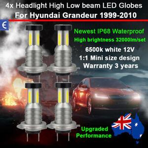 4x 360° 32000LM Headlight Globe For Hyundai Grandeur 2002 2003 High Low Beam 12V