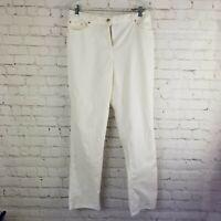 Ruby Rd Womens Pants Size 10 White Slacks Pockets Stretch Elastic Waistband