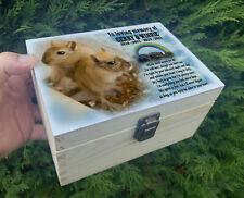 Small wooden pet Gerbil urn, Wooden casket for ashes, Memorial keepsake box.