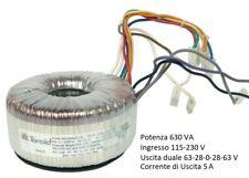 Toroidal Transformer 630 w Dual Output 115-230v Input 63+63v 28+28v