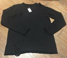 NWT! CARBON Rue 21 Men's Size L Distressed Torn Holes Long Sleeve Black Sweater