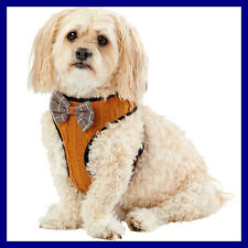 Top Paw Dark Golden Brown Cable Knit Bow Tie Soft Dog Vest Harness S