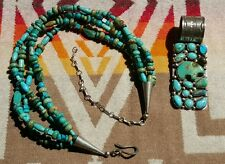 Rocki Gorman Happy Trails Sterling Turquoise Four Strand Neckace and Pendant