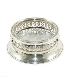 Vintage EPNS A1 pierced silver plated bottle coaster with glass liner