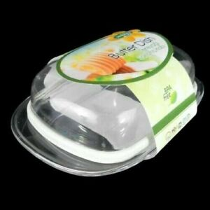 Plastic Covered Butter Dish Box Holder With Clear Lid Kitchen Fridge Container