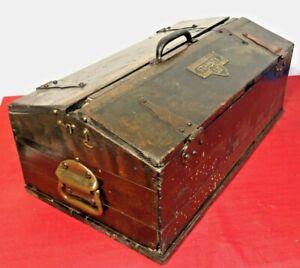 "ANTIQUE RARE STANLEY 'SWEETHEART SLANT-LID' TOOL BOX 20"" Wood Plane Toolbox"