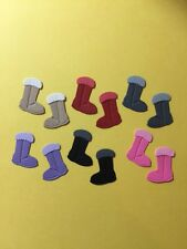 MINI WINTER BOOTS EMBELLISHMENT X 6 FOR SCRAPBOOKING FULLY ASSEMBLED