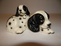 Ceramic Black White Cocker Spaniel Mom & Her Pup