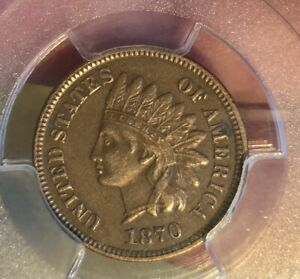 1870 1C Indian Cent PCGS XF45BN RPD Snow 4 FS 301 8.81