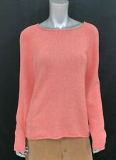 EDDIE BAUER Orange/White Mixed Knit Crew Neck Long Sleeve Pullover Sweater sz L
