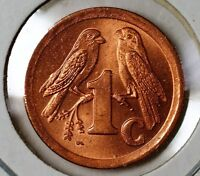 1993 South Africa One 1 Cent Brilliant Uncirculated Sparrows Coin