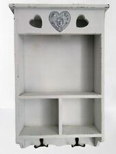 Wooden Shelf unit shabby chic white vintage style Key hooks Wall Storage